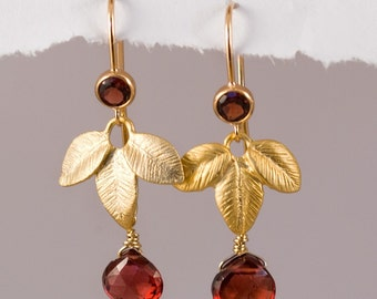 Garnet Earrings - January Birthstone - Birthstone Earrings - Gold Earrings - Leaf Earrings
