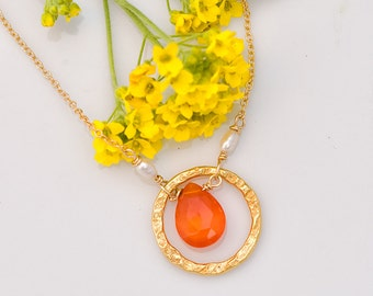Carnelian Necklace - Orange Gemstone Necklace - Hammered Ring Pendant - Gold Necklace - Gift for her