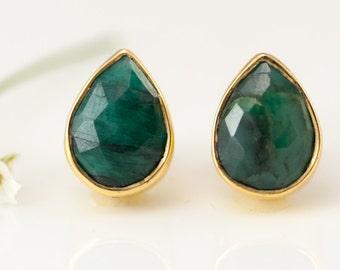 Raw Emerald Stud Earrings - May Birthstone Studs - Gemstone Studs - Tear Drop Studs - Gold Stud Earrings - Post Earrings