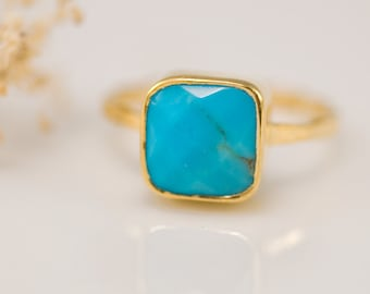 Turquoise Ring Gold, December Birthstone Ring, Gemstone Ring, Stacking Ring, Cushion Cut Ring, Natural Stone Ring, Gift for Her, RG-SQ
