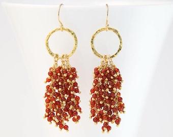 Red Jade Beaded Tassel Earrings, Gold Hammered Hoop, Statement Jewelry, Wire Wrapped Earrings, Jewelry Trends, Boho Jewelry, Bauble Earrings