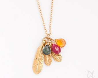 Children Birthstone Necklace, Personalized Gift for Mom, Gift for Grandma, Feather Charm Necklace, One of a Kind Gift, 14k Gold Filled