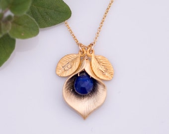 September Blue Lapis Personalized Birthstone Necklace - Custom Initial Jewelry  - Personalized necklace - Calla Lilly Necklace