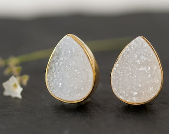 White Druzy Stud Earrings - April Birthstone Studs - Gemstone Studs - Tear Drop Studs - Gold Stud Earrings - Post Earrings