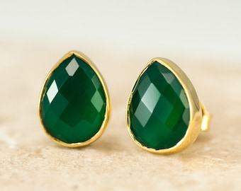Green Onyx Tear Drop Studs, May Birthstone Stud Earrings, Birthday Gift for Her, Gold Set Green Stone Earrings, Semi Precious Stones