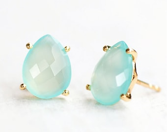 Aqua Blue Chalcedony Studs, Bridesmaid Stud Earrings, March Birthstone Earrings, Wedding Jewelry, Girlfriend Gift Idea, Faceted Studs