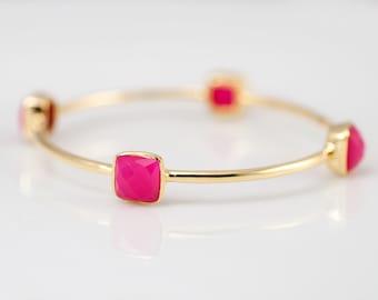 Bangle - Fuchsia Pink Chalcedony Bracelet - Gemstone Bangles - Bezel Set Bangles - Gold Bracelets