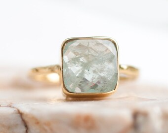 40 0FF - Aquamarine ring - March Birthstone Ring - Gemstone Ring - Stacking Ring - Gold Ring- Cushion Cut Ring, RG-SQ