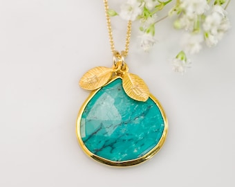 Turquoise Necklace - December Birthstone Necklace - Personalized Necklace - Customize Initials Necklace - Gold Necklace, NK-20
