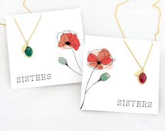 Set of 2 Sister Birthstone Necklaces, Monogram Jewelry, Holiday Gifts for Sisters, Jewelry Set, Matching Necklaces, Personalized Necklaces