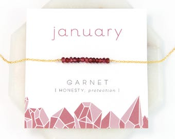 Inspirational January Birthstone Necklace, Garnet Necklace, Healing Gift, Birthday Present, Gemstone Bar Necklace, Gift for Friend, NK-DB