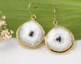 Solar Quartz Natural Gemstone Earrings, Statement Earrings, Solar Quartz Jewelry, Gold Framed Stone, Boho Gold, Earring Trends, Gift Ideas