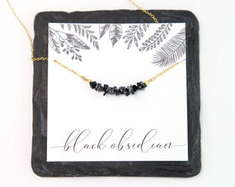 Black Obsidian Raw Crystal Bar Necklace, Minimalist Choker, Rough Stone Necklace, Semi-Precious Black Stone, Healing Gift