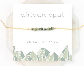 Green Opal Necklace, Sage Green Necklace, Healing Gemstone Gift, Dainty Bar Necklace, BFF Gifts, Gemstone Choker, African Opal,