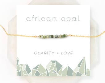 Green Opal Necklace, Sage Green Necklace, Healing Gemstone Gift, Dainty Bar Necklace, BFF Gifts, Gemstone Choker, African Opal, NK-DB