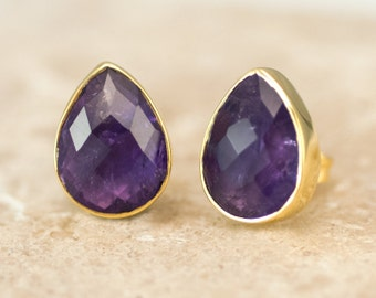 Purple Amethyst Stud Earrings - February Birthstone Studs - Gemstone Studs - Tear Drop Studs - Gold Stud Earrings - Post Earrings