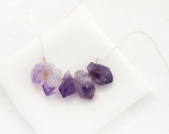 Purple Amethyst Crystal Necklace, Gemstone Bar Necklace, Amethyst Jewelry, February Birthday Gift, Raw Amethyst, Statement Necklace