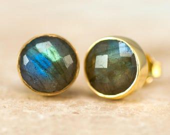 Gold Labradorite Earrings, Round Stone Studs, Minimalist Earrings, Gold Framed Stone, Gift for Her, Boho Stud Earrings, Crystal Earrings