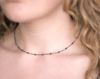 Oxidized Black Silver Choker, Everyday Layering Necklace, Simple Choker, Satellite Chain Necklace, Delicate Modern Jewelry, GCC