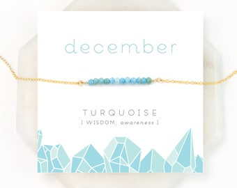 Genuine Turquoise, December Birthstone, Boho Turquoise Necklace, Everyday Necklace, Summer Jewelry, Blue Gemstone, Dainty Beaded Bar, NK-DB