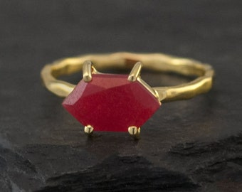 Red Ruby Ring Gold - July Birthstone Ring - Stack Ring - Stackable Birthstone Ring - Marquise Prong Set Ring, RG-MQ