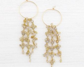 Golden Rutilated Quartz Hoops, Wedding Earrings, Gemstone Tassel Earrings, Statement Earrings, Hippie Chic Jewelry, Boho Bride, HP-TS