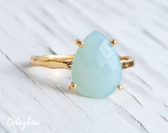 Aqua Blue Chalcedony Ring Gold, Gemstone Ring, Solitaire Ring, Stacking Ring, Tear Drop Ring, Prong Set Ring, Bridesmaid Ring, RG-PP