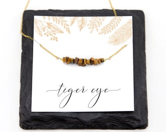 Natural Tiger Eye Bar Necklace, Energy Stone, Nature Jewelry, Woodland Necklace, Beaded Bar, Rustic Wedding, Genuine Gemstones, NK-RB