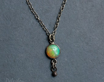 Tiny Opal Pendant Necklace, October Birthstone, Black Silver, Opal Solitaire, Genuine Opal, Ethiopian Opal, Tiny Gemstone, Everyday Jewelry