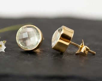 Green Amethyst Stud Earrings, Round Gemstone Studs, Gold Set Stone, Green Stone Jewelry, Bridal Party Jewelry, Gift for Mom