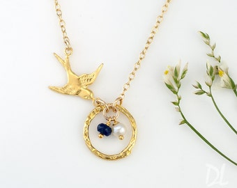 Bird Nest Charm Necklace Gold, Custom Birthstone Necklace, Egg Nest Mama Bird Necklace, Gold Dove Necklace, Gift for Mom, Gift for Grandma