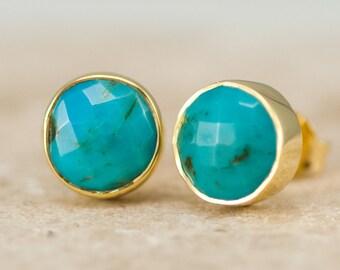 Natural Turquoise Stud Earrings, Gold Round Gemstone Studs, Boho Earrings, Gift for Friend, Gold Framed Stone Earrings