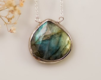 Teardrop Labradorite Necklace, Sterling Silver Jewelry, Bezel Set Gemstone, Natural Labradorite Pendant, Celestial Gift for Her
