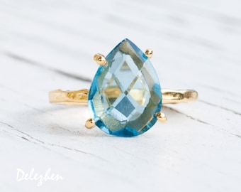 London Blue Topaz Ring, Solitaire Ring, December Birthstone Ring, Stacking Ring, Gold Vermeil Ring, Pear Ring, Prong Set Ring, RG-PP