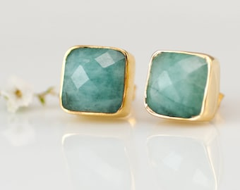 Raw Emerald Stud Earrings - May Birthstone Stud Earrings - Gemstone Studs - Cushion Cut Studs - Gold Stud Earrings - Post Earrings