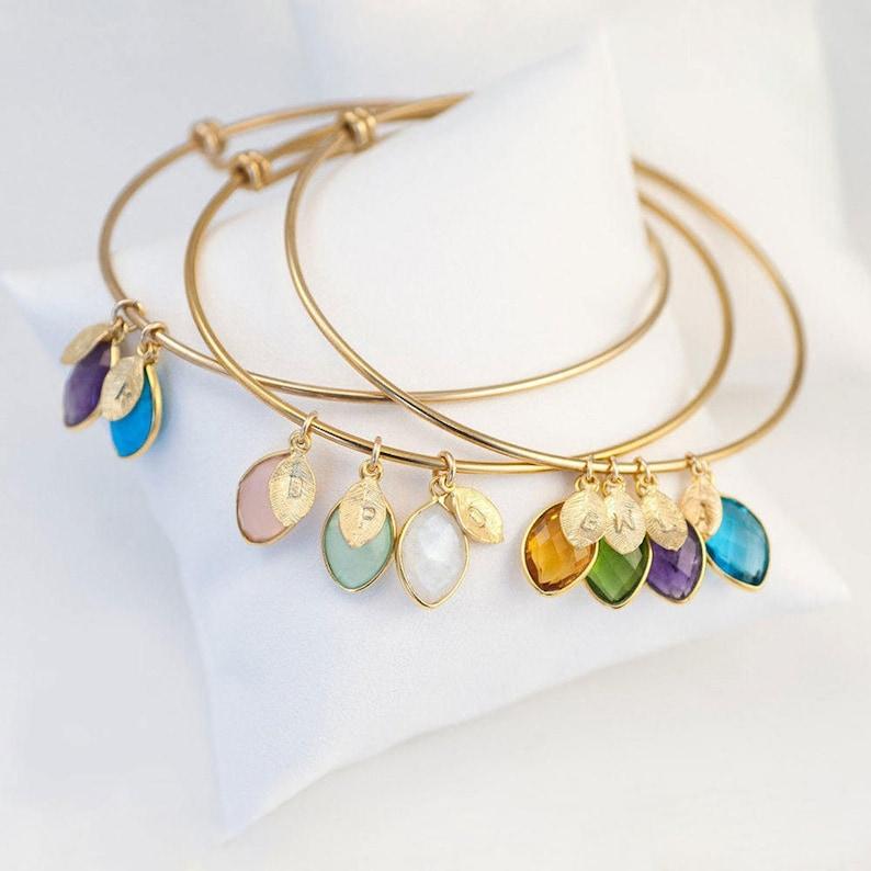 Custom Birthstone Charm Bracelet For Mom Grandmother image 1
