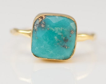 Turquoise Ring Gold, December Birthstone Ring, Gemstone Ring, Solitaire Ring, Silver Ring, Stacking Ring, Statement Ring