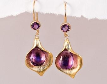 Purple Amethyst Earrings - February Birthstone Earrings - Calla Lily Earrings - Gold Earrings - Nature Inspired Jewelry
