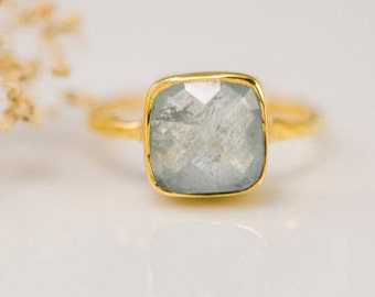Aquamarine Ring Gold, March Birthstone Ring, Stacking Ring, Gemstone Ring, Gold Ring, Square Stone Ring, Dainty Ring, Gift for Her