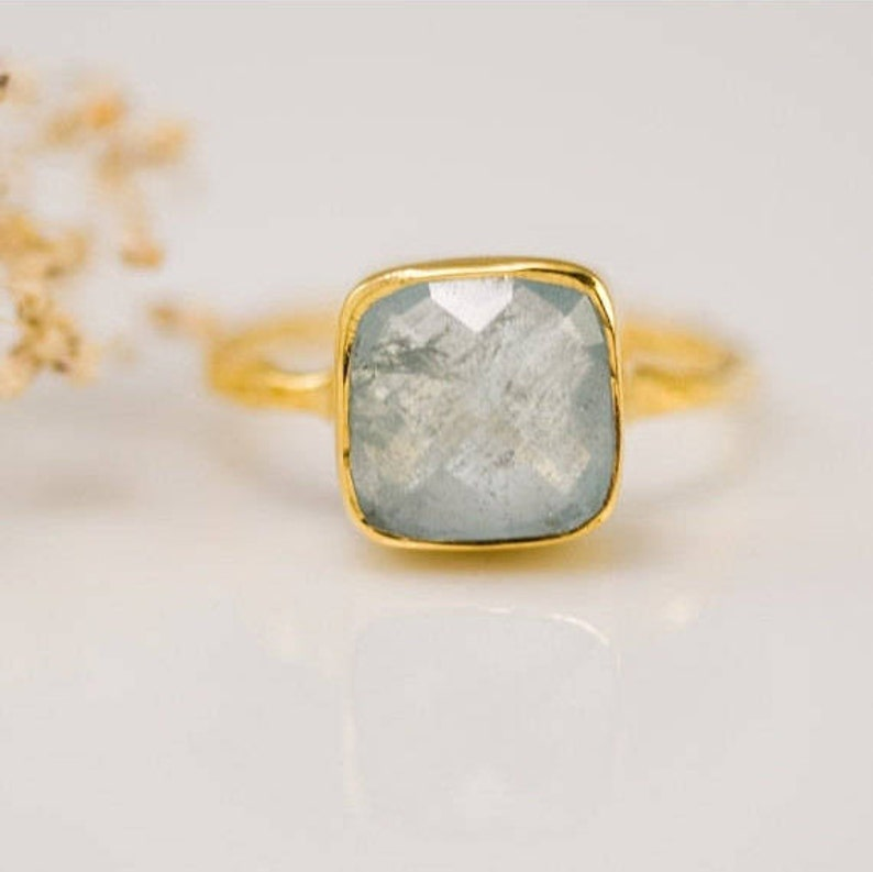 Aquamarine Ring Gold March Birthstone Ring Stacking Ring image 0