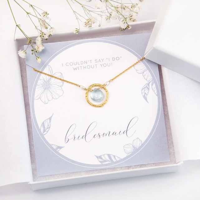 Personalized Bridesmaids Gift, Custom Bridesmaid Proposal Card, Gold Filled Gemstone Necklace, Gift for Her, Custom Wedding Jewelry, NK-HC
