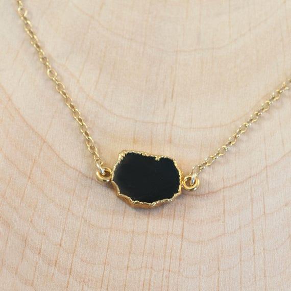 delicate necklace black onyx necklace gemstone necklace Black stone necklace minimalist necklace onyx necklace layering necklace