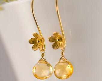 November Birthstone Earrings - Citrine Earrings - Gold Earrings - Flower Earrings