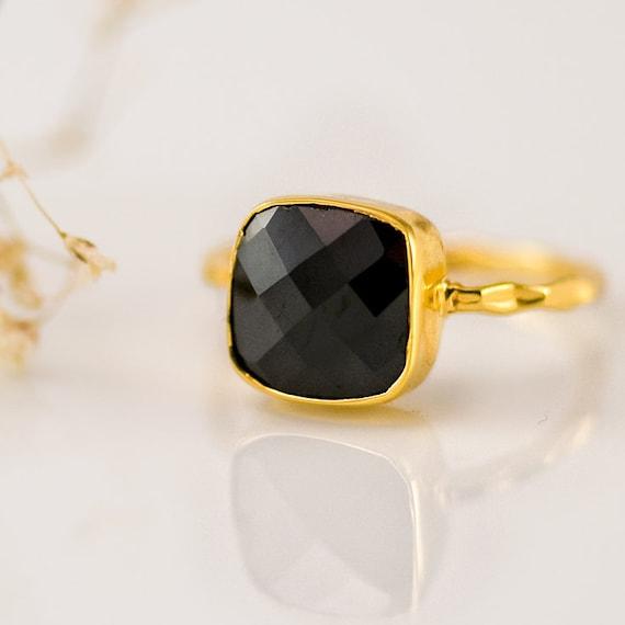 Size 3 4 5 6 7 8 9-9mm Black Onyx Birthstone ring Black Onyx Cushion Gemstone Ring Handmade in Sterling Silver  Vermeil Gold K18