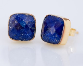 Lapis Stud Earrings - September Birthstone  Stud Earrings - Gemstone Studs - Cushion Cut Studs - Gold Stud Earrings - Post Earrings