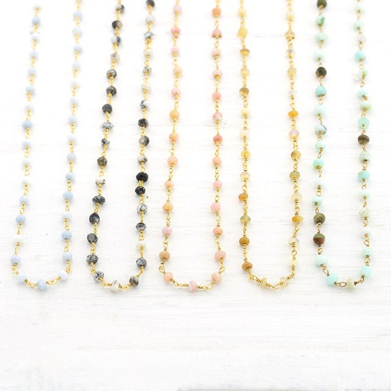 Natural Ethiopian Opal Wire Wrapped Beaded Chain,Opal Ethiopian opal Wire Wrapped rosary Chain,Ethiopian Opal Rosary Chain,Opal Chain