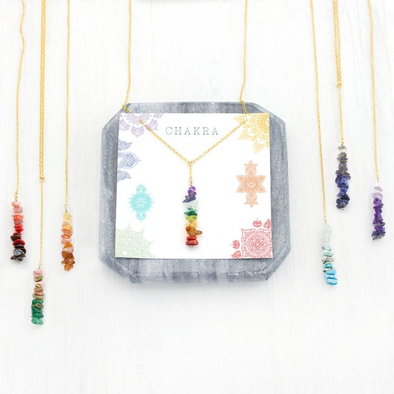 delivered in a giftbox perfect healing gift with adjustable chain Rose Gold Chakra necklace Boho necklace featuring a chakra charm