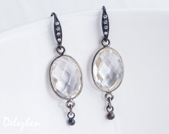 Clear Quartz Earrings - Black Oxidized Silver Earrings - Bridal Jewelry - Gemstone Earrings - April Birthstone Earrings