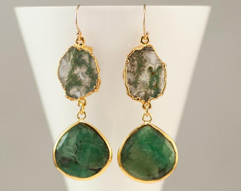 Raw Emerald Earrings Moss Quartz Earrings Gemstone Jewelry image 0