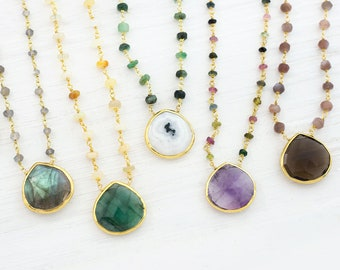 Natural Gemstone Layering Necklace, Everyday Choker, Colorful Stone Jewelry, Multistone Jewelry, Pendant Necklace, Boho Chic, Gift for BFF